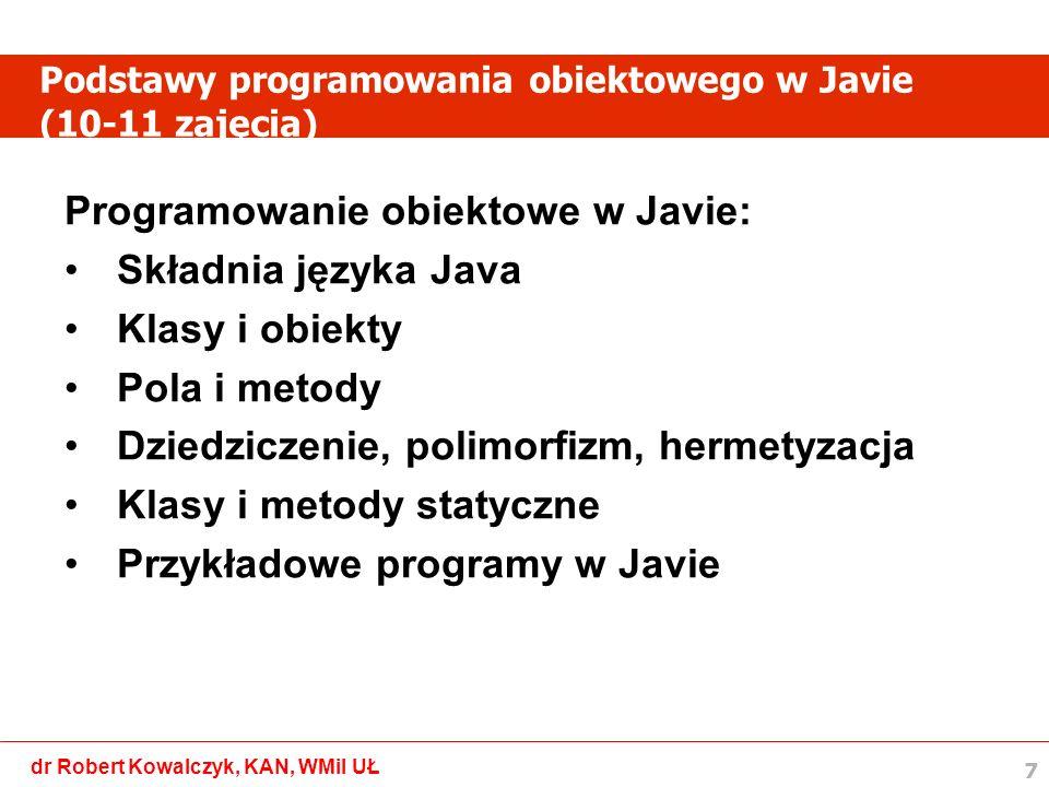 Podstawy programowania obiektowego w Javie (10-11 zajęcia)