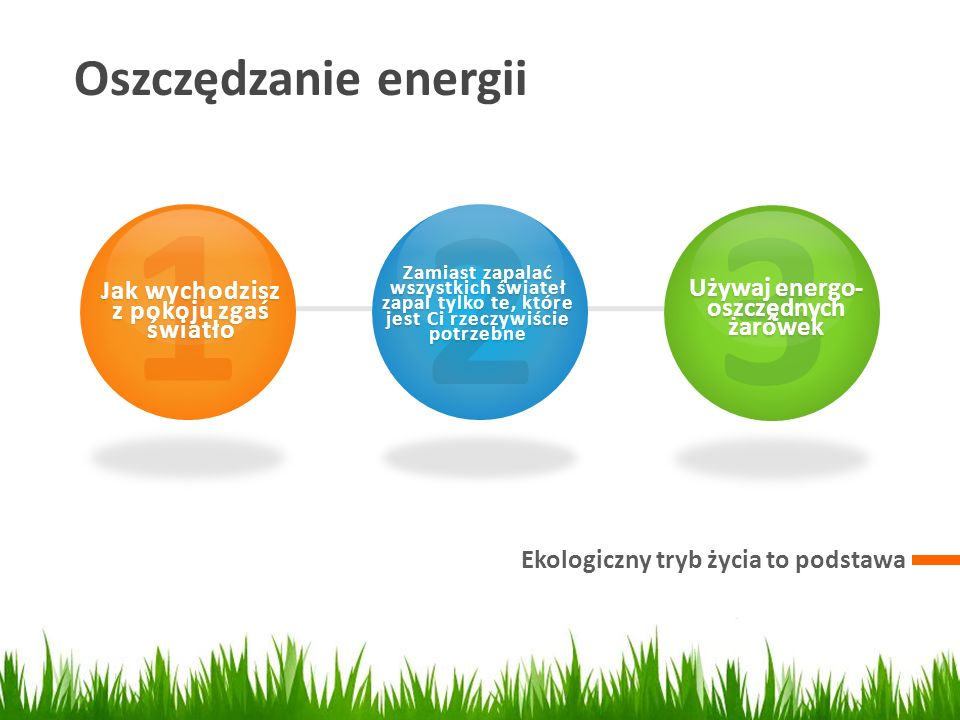 Jak wychodzisz z pokoju zgaś światło Używaj energo-oszczędnych żarówek