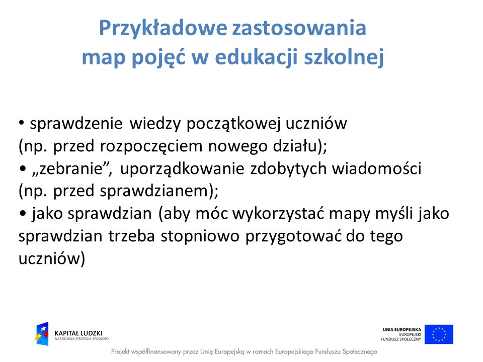 Przykładowe zastosowania map pojęć w edukacji szkolnej
