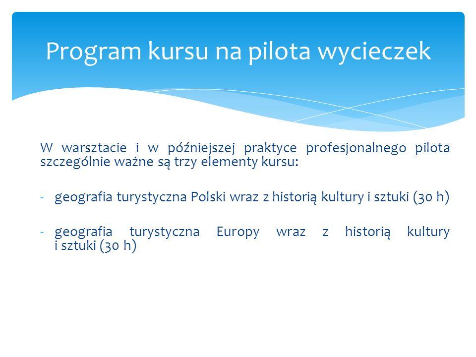 Program kursu na pilota wycieczek