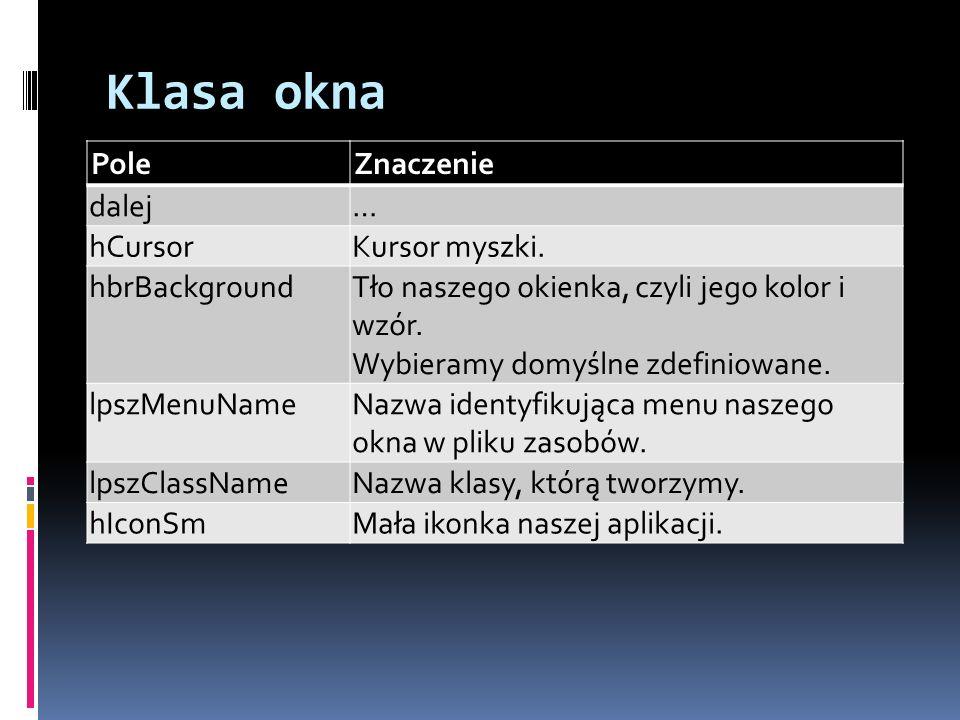 Klasa okna Pole Znaczenie dalej … hCursor Kursor myszki. hbrBackground