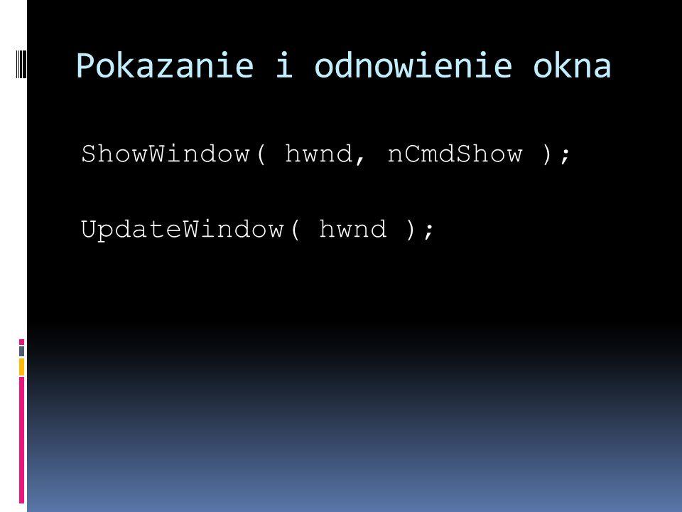 Pokazanie i odnowienie okna