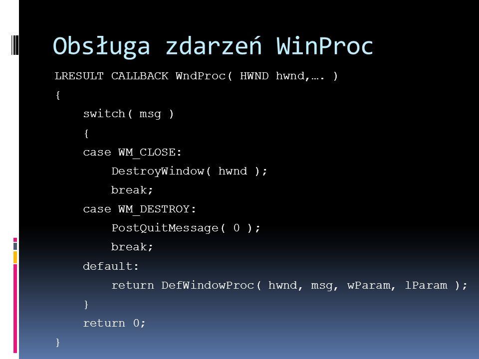 Obsługa zdarzeń WinProc