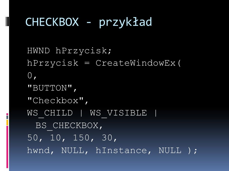CHECKBOX - przykład