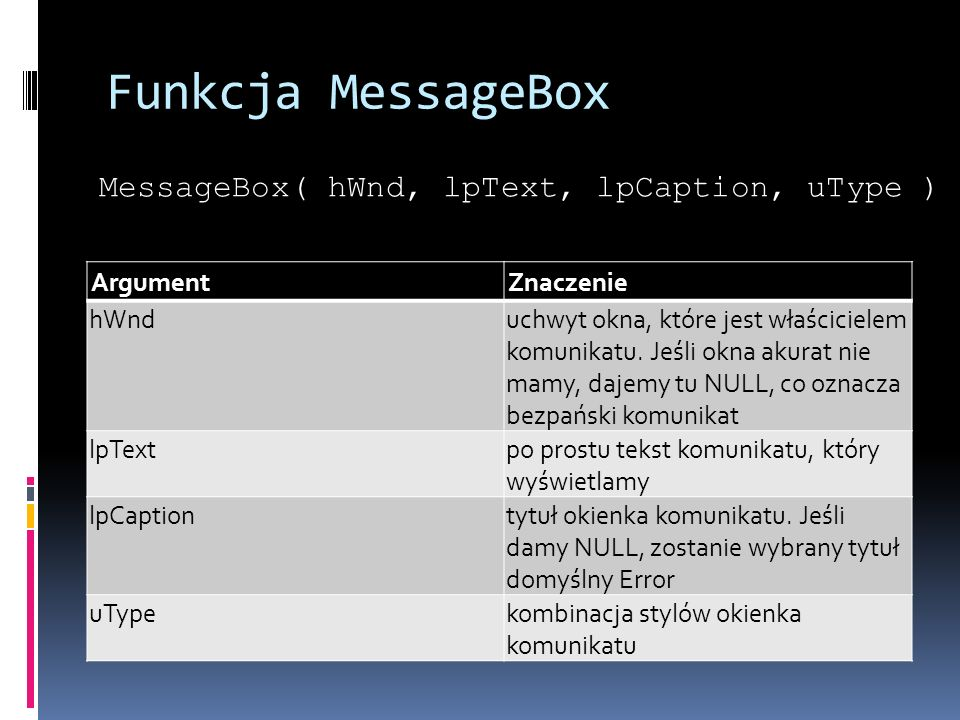 Funkcja MessageBox MessageBox( hWnd, lpText, lpCaption, uType )