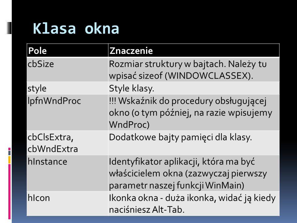 Klasa okna Pole Znaczenie cbSize