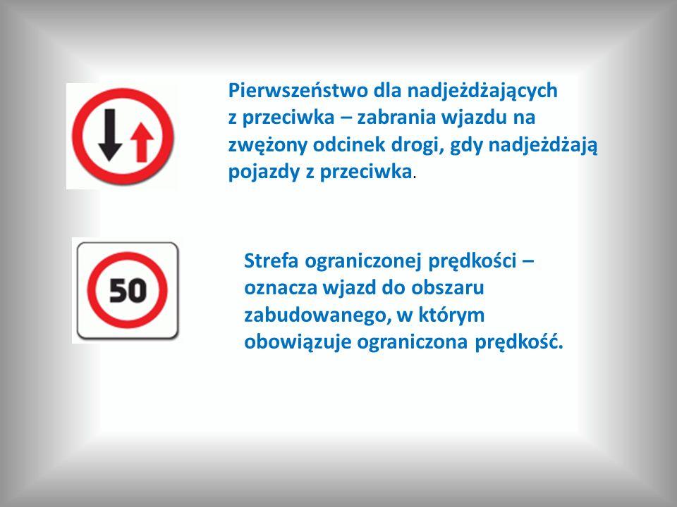 Pierwszeństwo dla nadjeżdżających z przeciwka – zabrania wjazdu na zwężony odcinek drogi, gdy nadjeżdżają pojazdy z przeciwka.