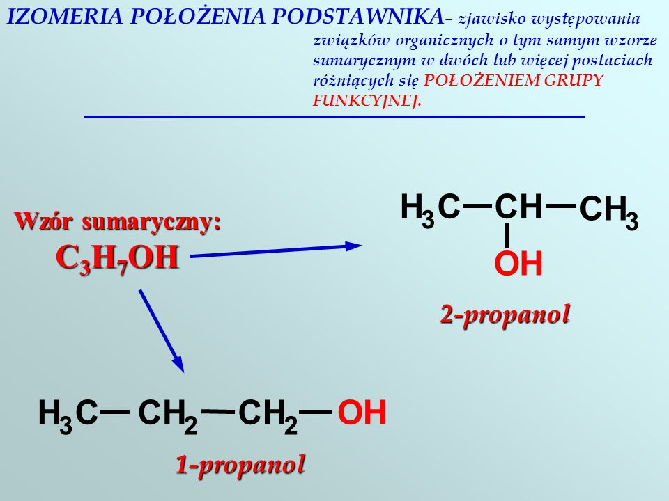 C H O H C O 3 Wzór sumaryczny: C3H7OH 2-propanol 3 2 1-propanol