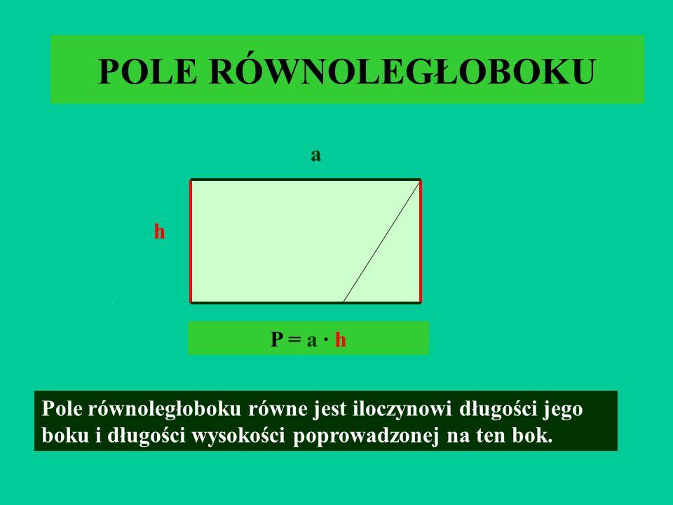 POLE RÓWNOLEGŁOBOKU a h P = a · h