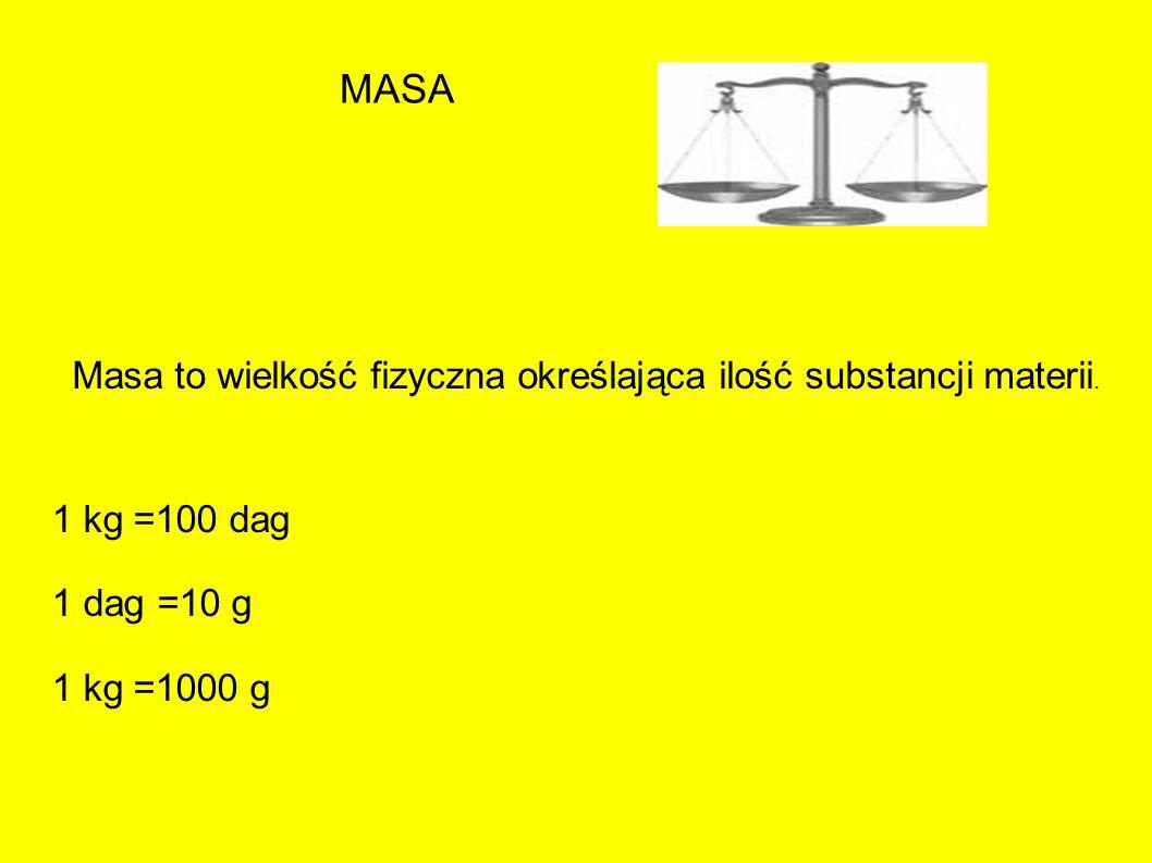 MASA Masa to wielkość fizyczna określająca ilość substancji materii.