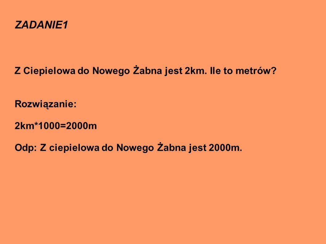 ZADANIE1 Z Ciepielowa do Nowego Żabna jest 2km. Ile to metrów