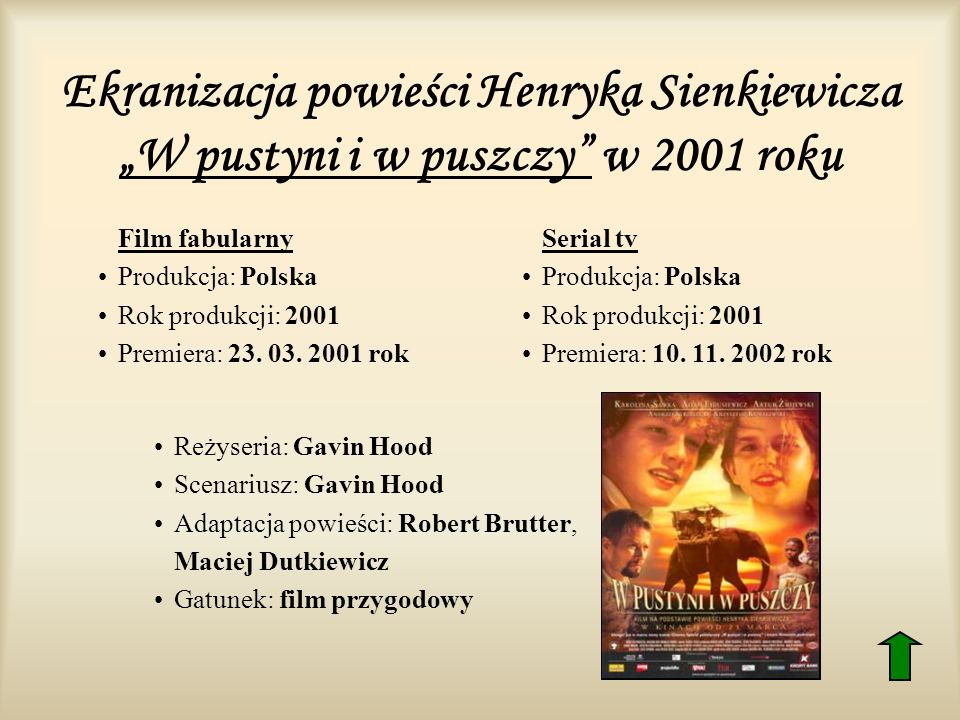 """Ekranizacja powieści Henryka Sienkiewicza """"W pustyni i w puszczy w 2001 roku"""