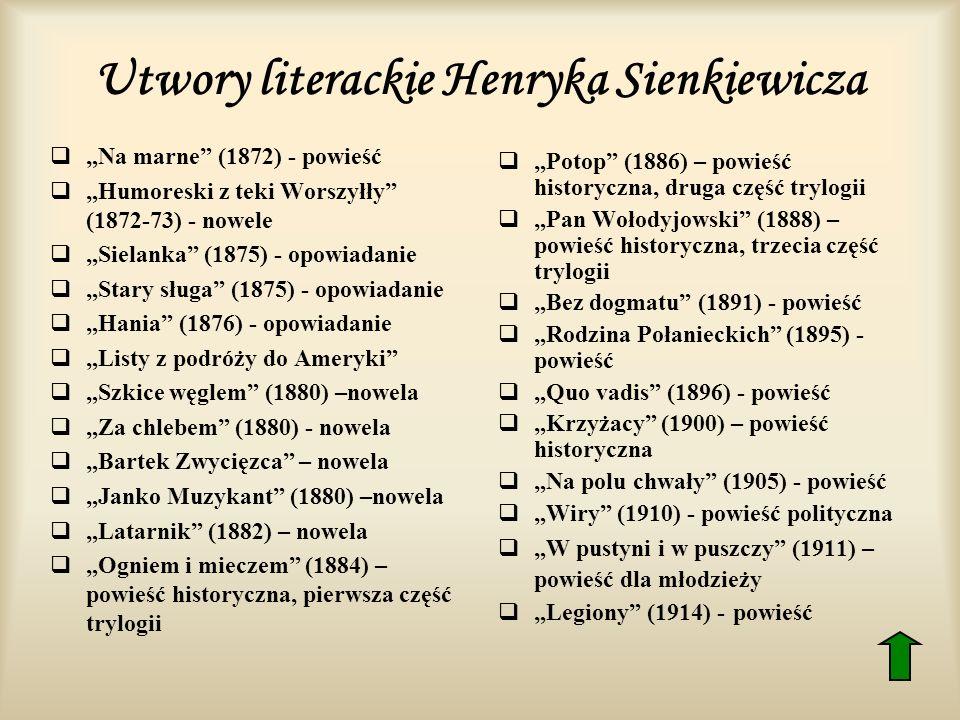 Utwory literackie Henryka Sienkiewicza