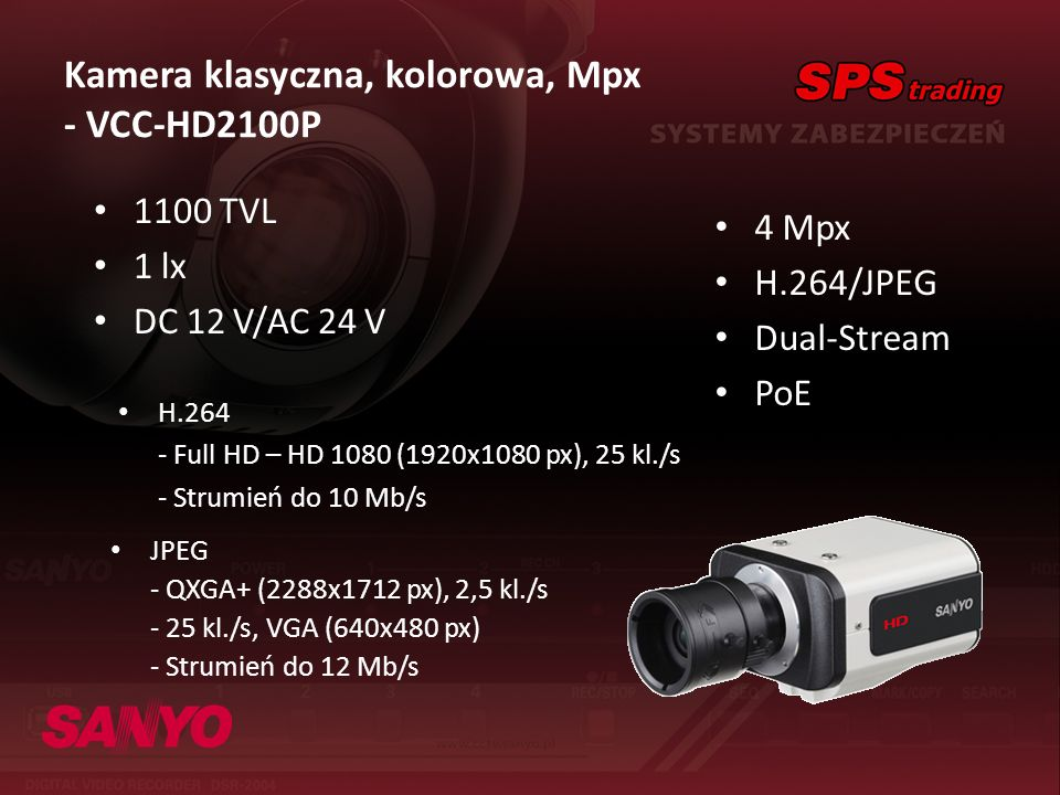 Kamera klasyczna, kolorowa, Mpx - VCC-HD2100P
