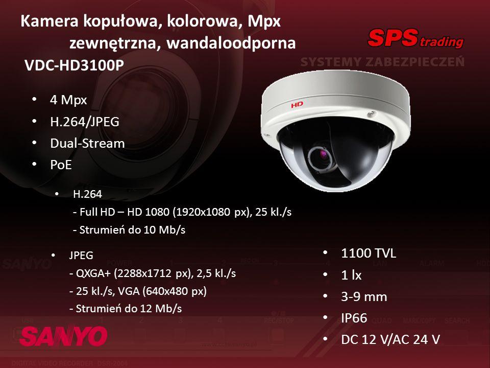 Kamera kopułowa, kolorowa, Mpx zewnętrzna, wandaloodporna VDC-HD3100P