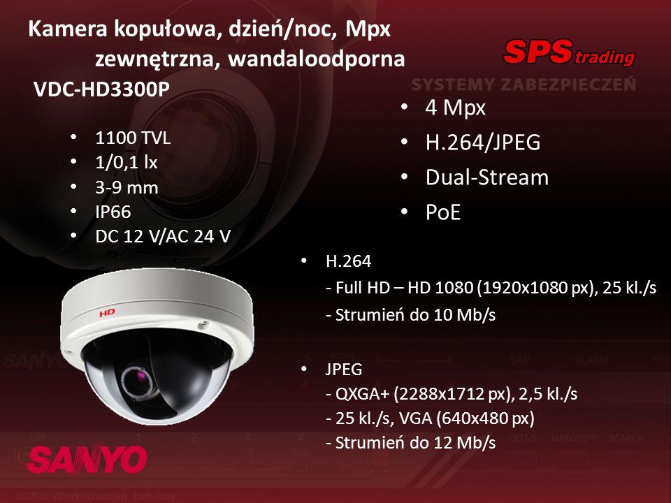 Kamera kopułowa, dzień/noc, Mpx zewnętrzna, wandaloodporna VDC-HD3300P