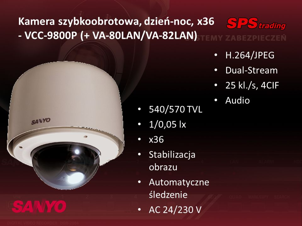 Kamera szybkoobrotowa, dzień-noc, x36 - VCC-9800P (+ VA-80LAN/VA-82LAN)