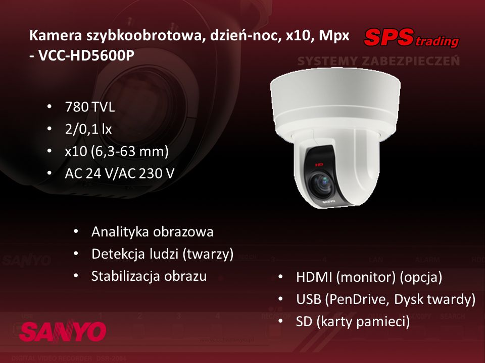 Kamera szybkoobrotowa, dzień-noc, x10, Mpx - VCC-HD5600P