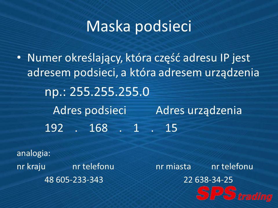 Maska podsieci Numer określający, która część adresu IP jest adresem podsieci, a która adresem urządzenia.