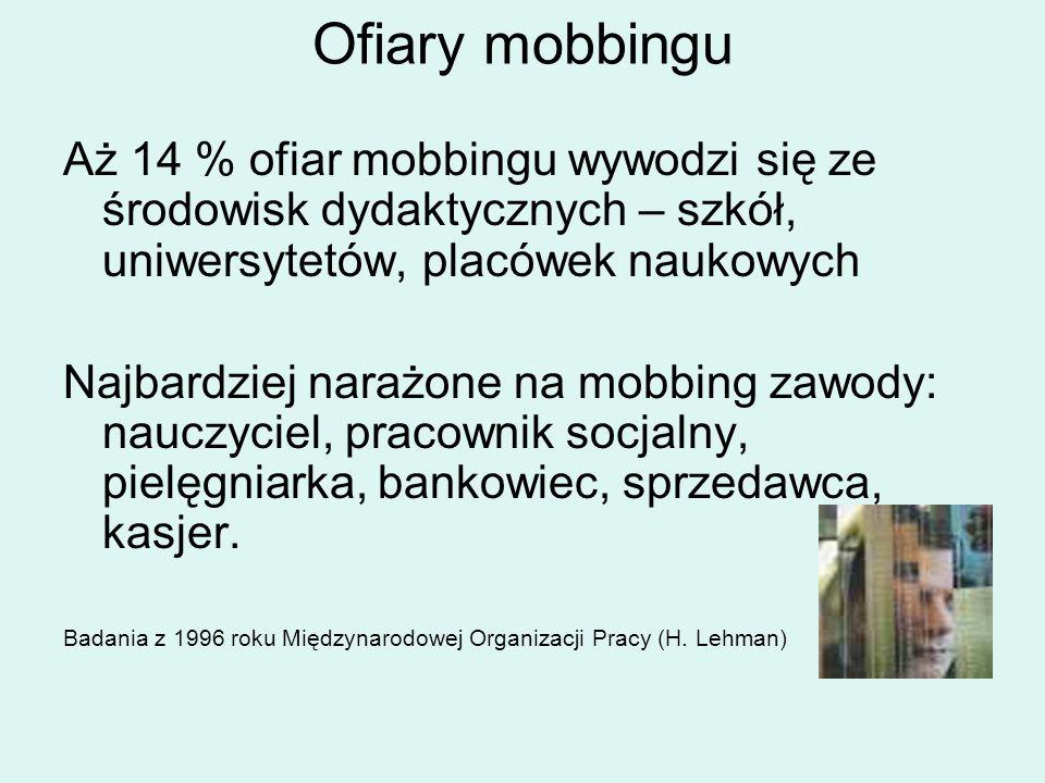Ofiary mobbingu Aż 14 % ofiar mobbingu wywodzi się ze środowisk dydaktycznych – szkół, uniwersytetów, placówek naukowych.