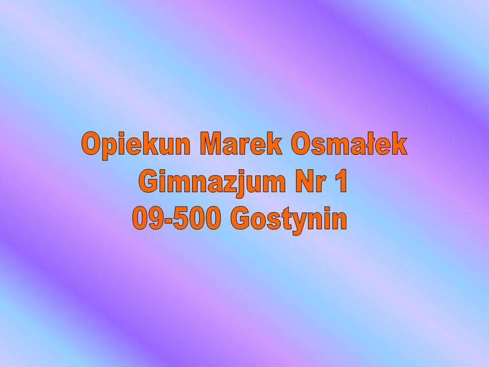 Opiekun Marek Osmałek Gimnazjum Nr 1 09-500 Gostynin