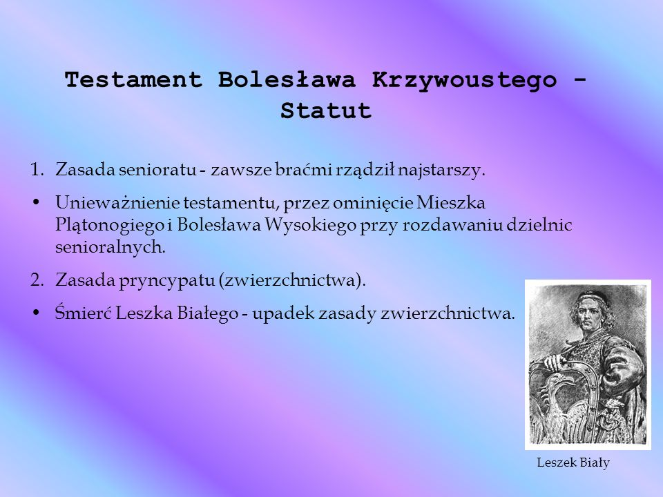Testament Bolesława Krzywoustego - Statut