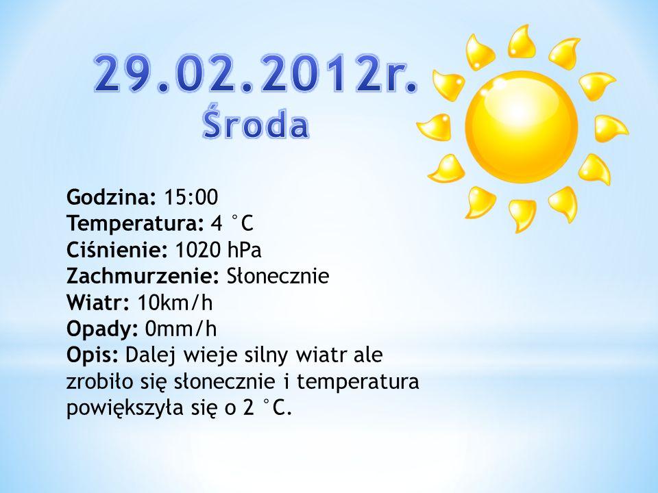29.02.2012r. Środa Godzina: 15:00 Temperatura: 4 °C