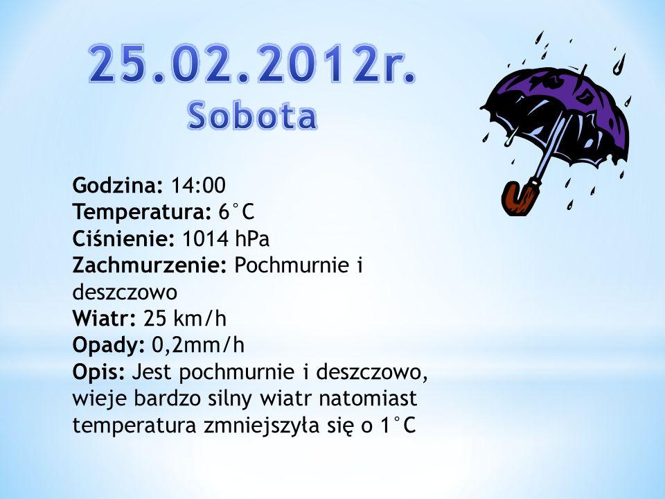25.02.2012r. Sobota Godzina: 14:00 Temperatura: 6°C