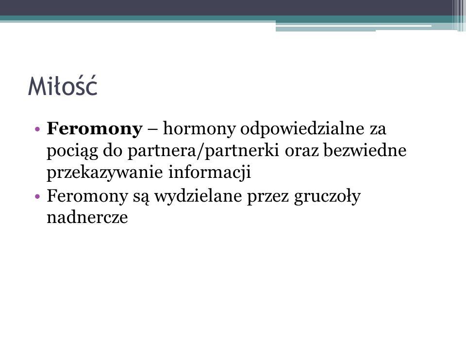 Miłość Feromony – hormony odpowiedzialne za pociąg do partnera/partnerki oraz bezwiedne przekazywanie informacji.