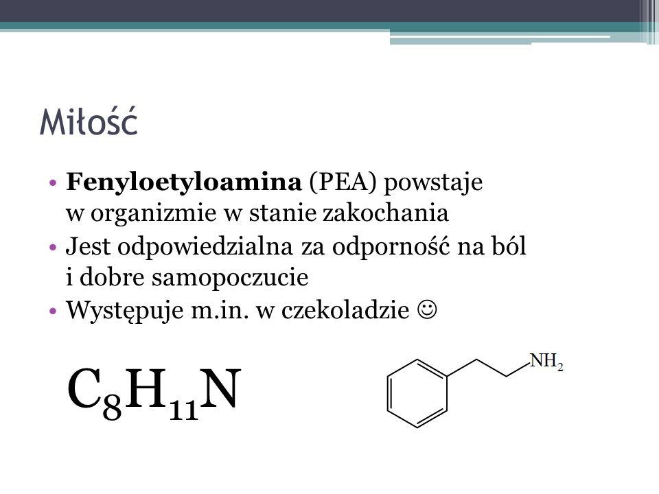 Miłość Fenyloetyloamina (PEA) powstaje w organizmie w stanie zakochania. Jest odpowiedzialna za odporność na ból i dobre samopoczucie.