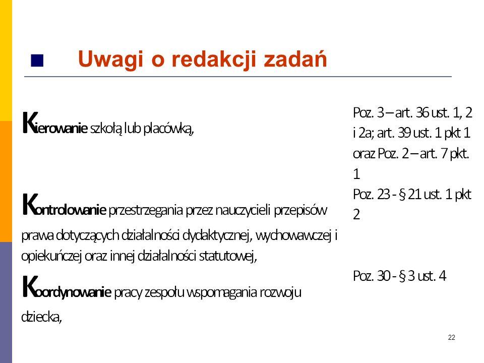■ Uwagi o redakcji zadań