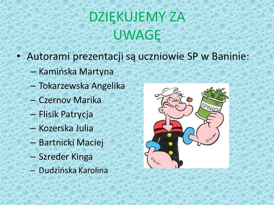 DZIĘKUJEMY ZA UWAGĘ Autorami prezentacji są uczniowie SP w Baninie: