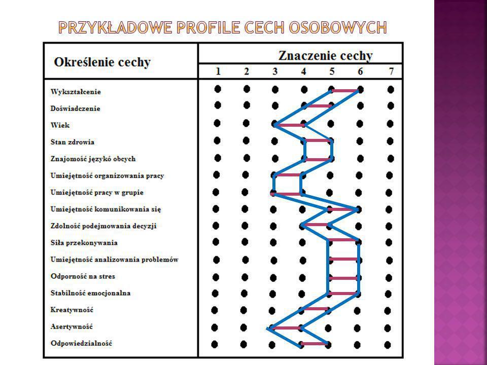 Przykładowe profile cech osobowych