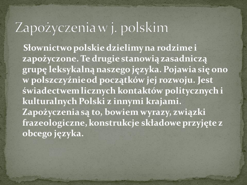 Zapożyczenia w j. polskim