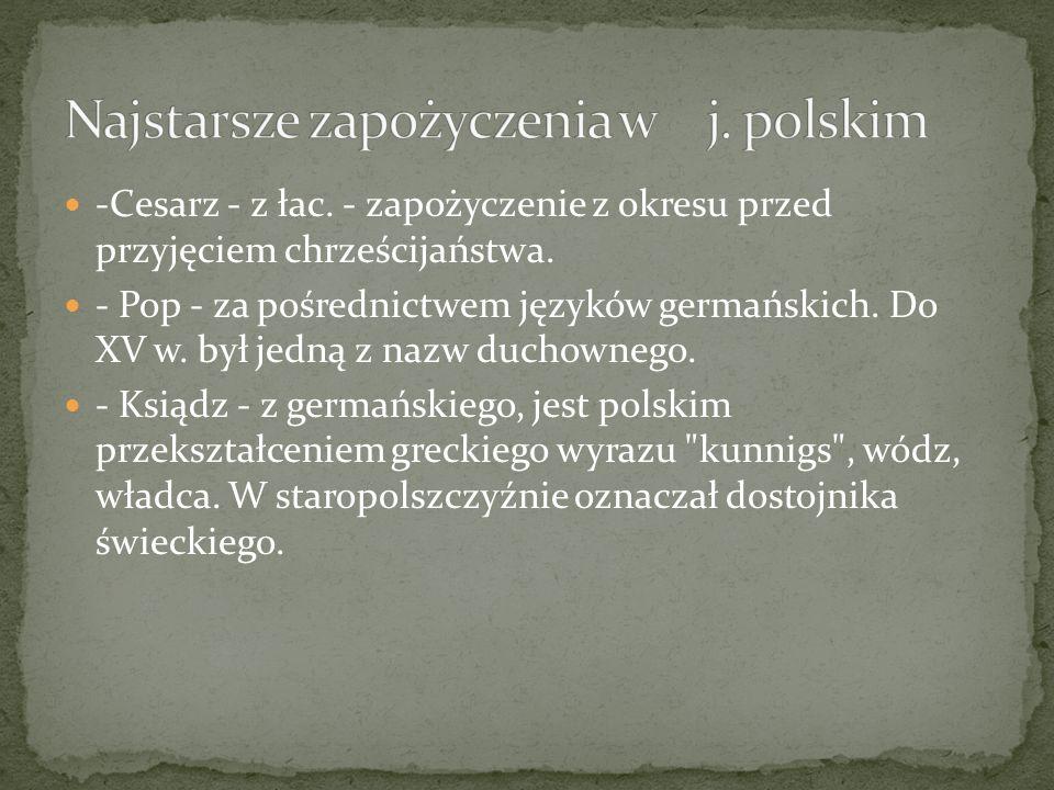 Najstarsze zapożyczenia w j. polskim