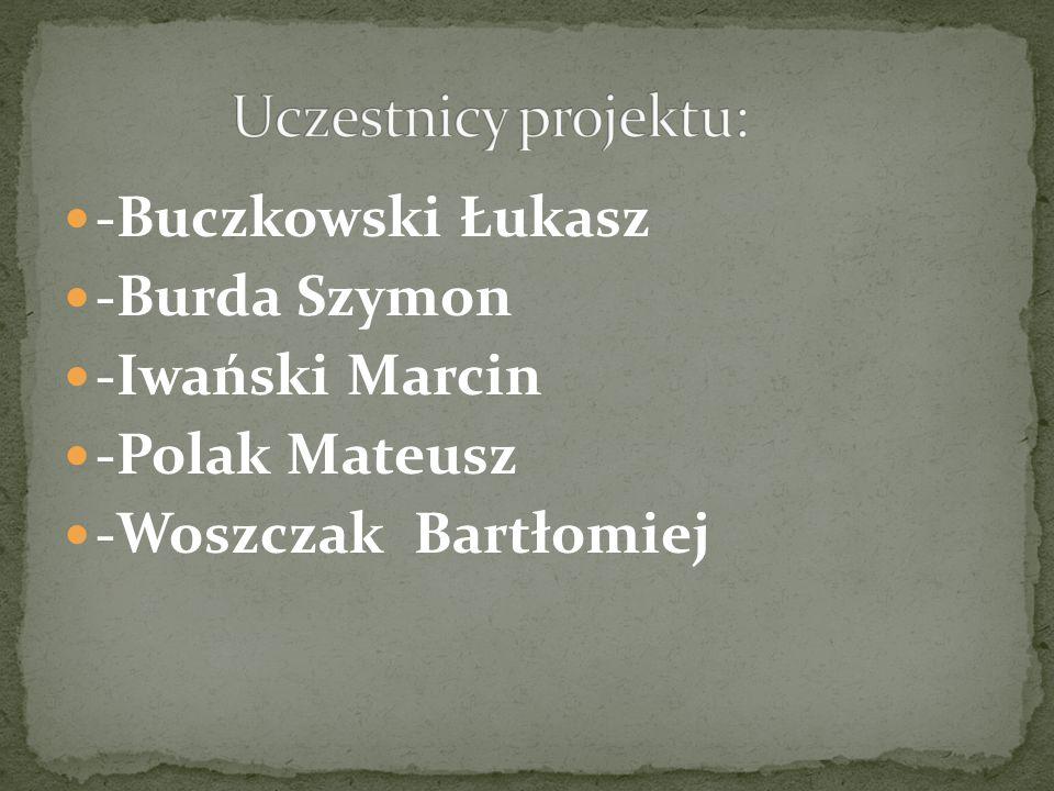 Uczestnicy projektu: -Buczkowski Łukasz -Burda Szymon -Iwański Marcin