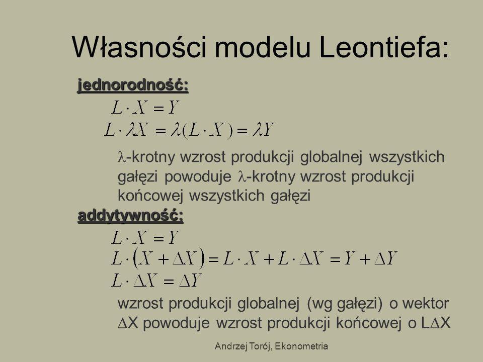 Własności modelu Leontiefa: