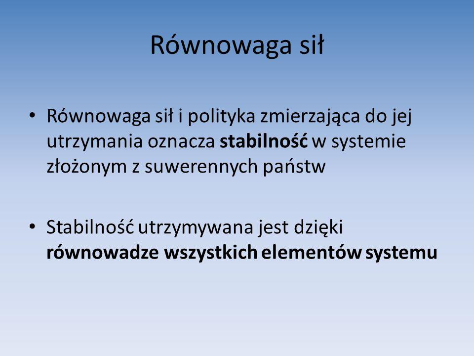 Równowaga sił Równowaga sił i polityka zmierzająca do jej utrzymania oznacza stabilność w systemie złożonym z suwerennych państw.