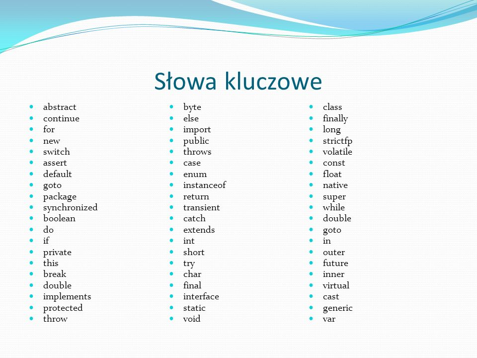 Słowa kluczowe abstract byte class continue else finally for import