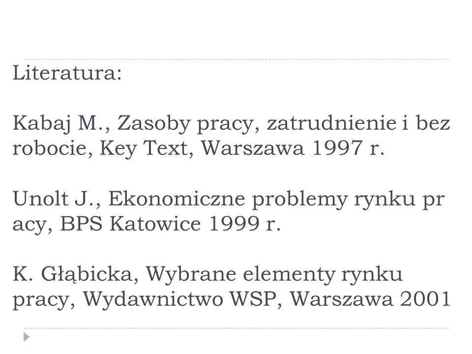 Literatura: Kabaj M., Zasoby pracy, zatrudnienie i bezrobocie, Key Text, Warszawa 1997 r. Unolt J., Ekonomiczne problemy rynku pracy, BPS Katowice 1999 r. K.