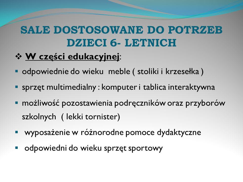 SALE DOSTOSOWANE DO POTRZEB DZIECI 6- LETNICH
