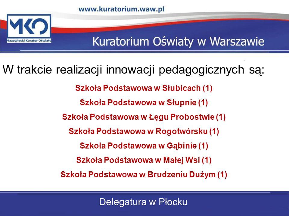 W trakcie realizacji innowacji pedagogicznych są: