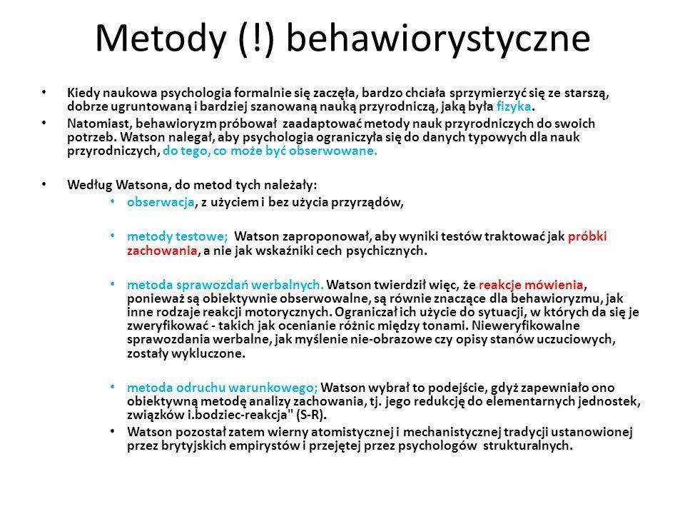 Metody (!) behawiorystyczne