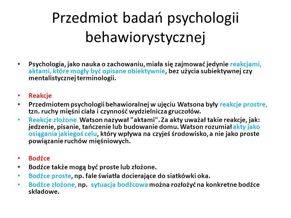 Przedmiot badań psychologii behawiorystycznej
