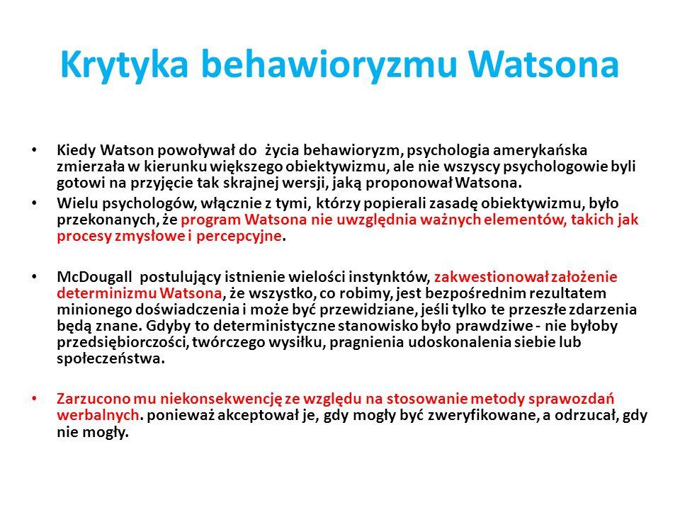 Krytyka behawioryzmu Watsona