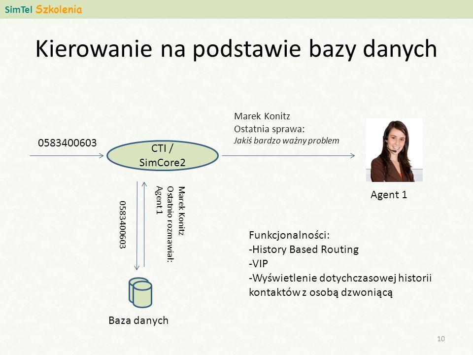Kierowanie na podstawie bazy danych