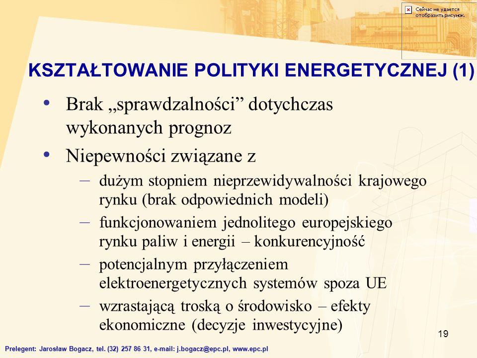KSZTAŁTOWANIE POLITYKI ENERGETYCZNEJ (1)