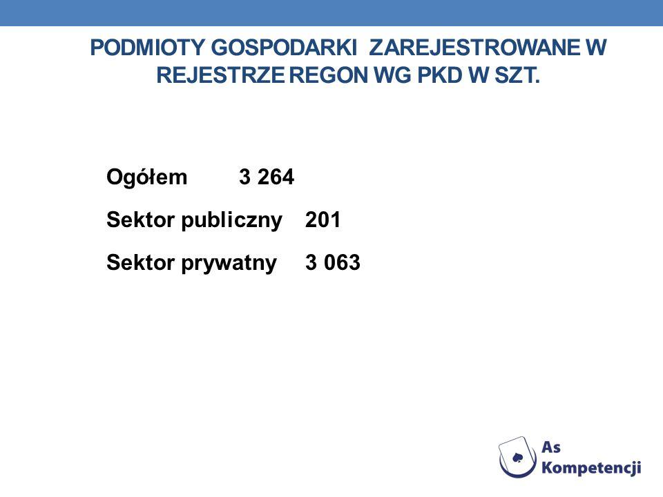 PODMIOTY GOSPODARKI ZAREJESTROWANE W REJESTRZE REGON WG PKD w szt.