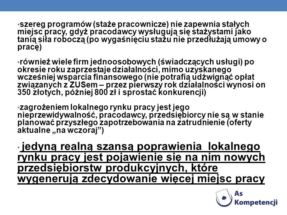 szereg programów (staże pracownicze) nie zapewnia stałych miejsc pracy, gdyż pracodawcy wysługują się stażystami jako tanią siła roboczą (po wygaśnięciu stażu nie przedłużają umowy o pracę)