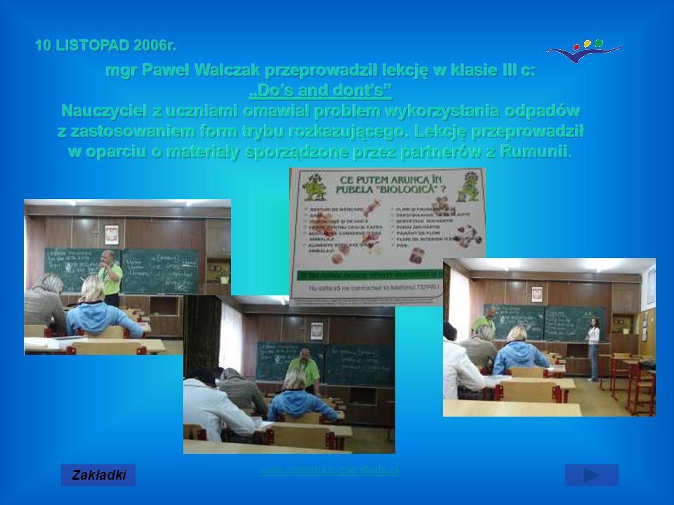 mgr Paweł Walczak przeprowadził lekcję w klasie III c: